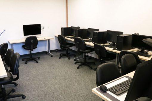 Workstations inside the Fort Frances campus Digital Lab